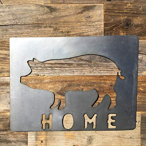 The Heritage Forge Rustic Home, Pig and Home Ranch Sign 21 x 18, Farmhouse, Metal Words, Kitchen Wall Decor, Home Decor, Farmhouse Sign, Motivational