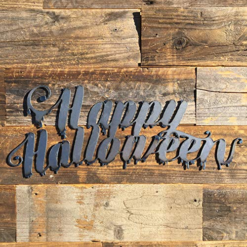 The Heritage Forge Rustic Home, Dripping Happy Halloween 20 x 8, Farmhouse, Metal Words, Holiday Wall Decor, Home Decor, Farmhouse Sign, Halloween