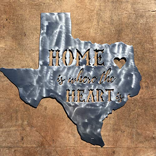 Rustic Home,Texas Home is The Where Heart is - 18 x 18, Motivational, Metal Words, Kitchen Wall Decor, Home Decor, Farmhouse Sign, Motivational