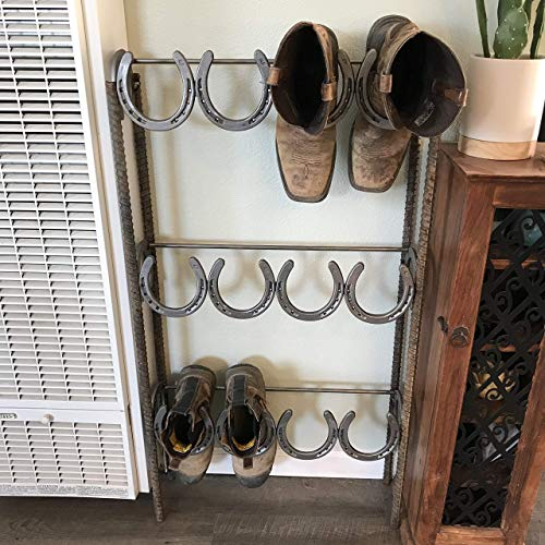 Rustic Standing Horseshoe Boot Rack - 6 Pairs - The Heritage Forge