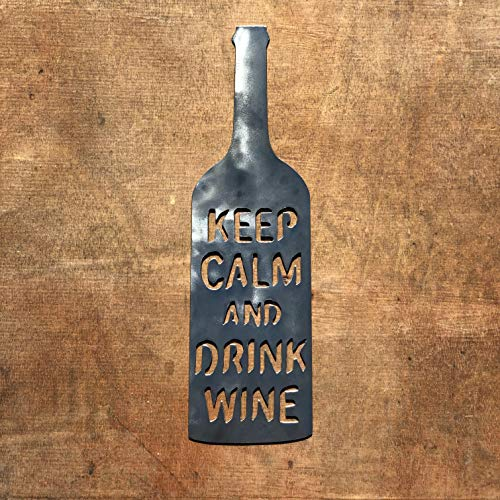 The Heritage Forge Rustic Home, Wine Bottle - Keep Calm and Drink Wine - 16 x 5, Motivational, Metal Words, Kitchen Wall Decor, Home Decor, Farmhouse Sign, Motivational