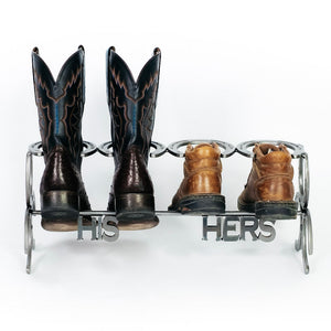 Handmade His and Hers Horseshoe Boot Rack - 2 pairs - The Heritage Forge