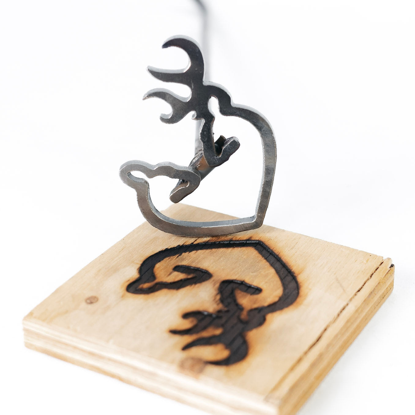 "Buck and Doe with Heart Brand - 4"" x 3"" - BBQ, Crafts, Woodworking Projects - The Heritage Forge"