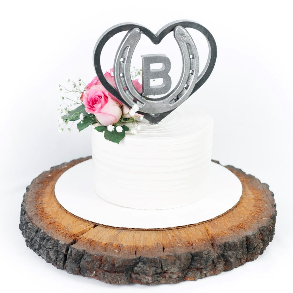 Custom Heart & Horseshoe Cake Topper with Initial - Customizable Rustic Wedding - The Heritage Forge