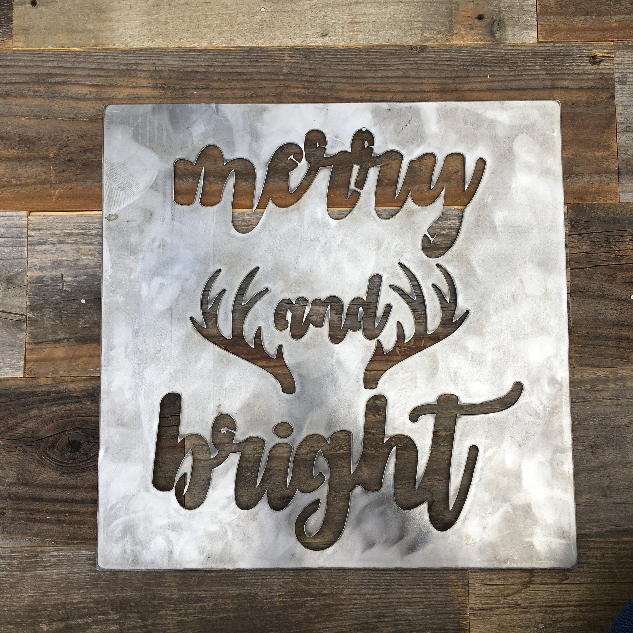Rustic Home, Merry and Bright Sign, Farmhouse, Metal Words ...