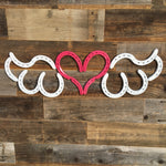 Horseshoe Heart with Wings - Pink and White - The Heritage Forge