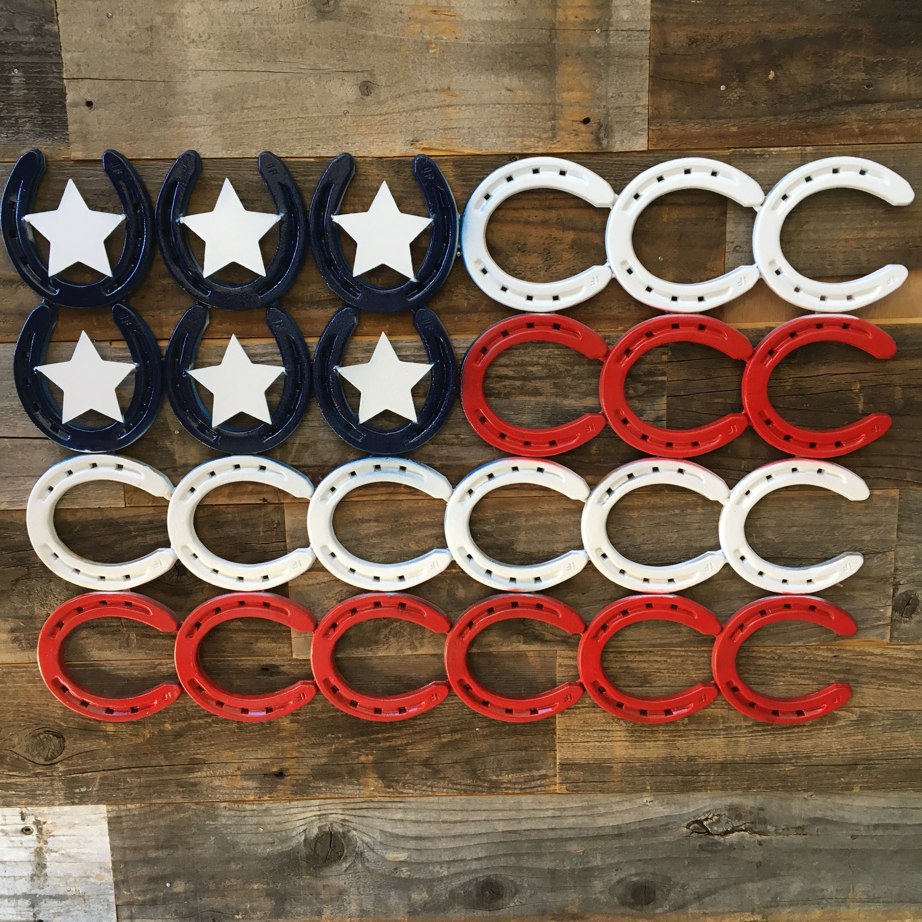 Made In America Rustic Horseshoe American Flag - Natural Metal - The Heritage Forge