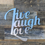 Rustic Home, Live Laugh Love Sign 12 x 12,  Farmhouse, Metal Words, Kitchen Wall Decor, Home Decor, Farmhouse Sign, Motivational