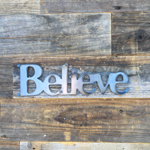 Rustic Home, Believe 12 x 4,  Farmhouse, Metal Words, Kitchen Wall Decor, Home Decor, Farmhouse Sign, Motivational, Christian
