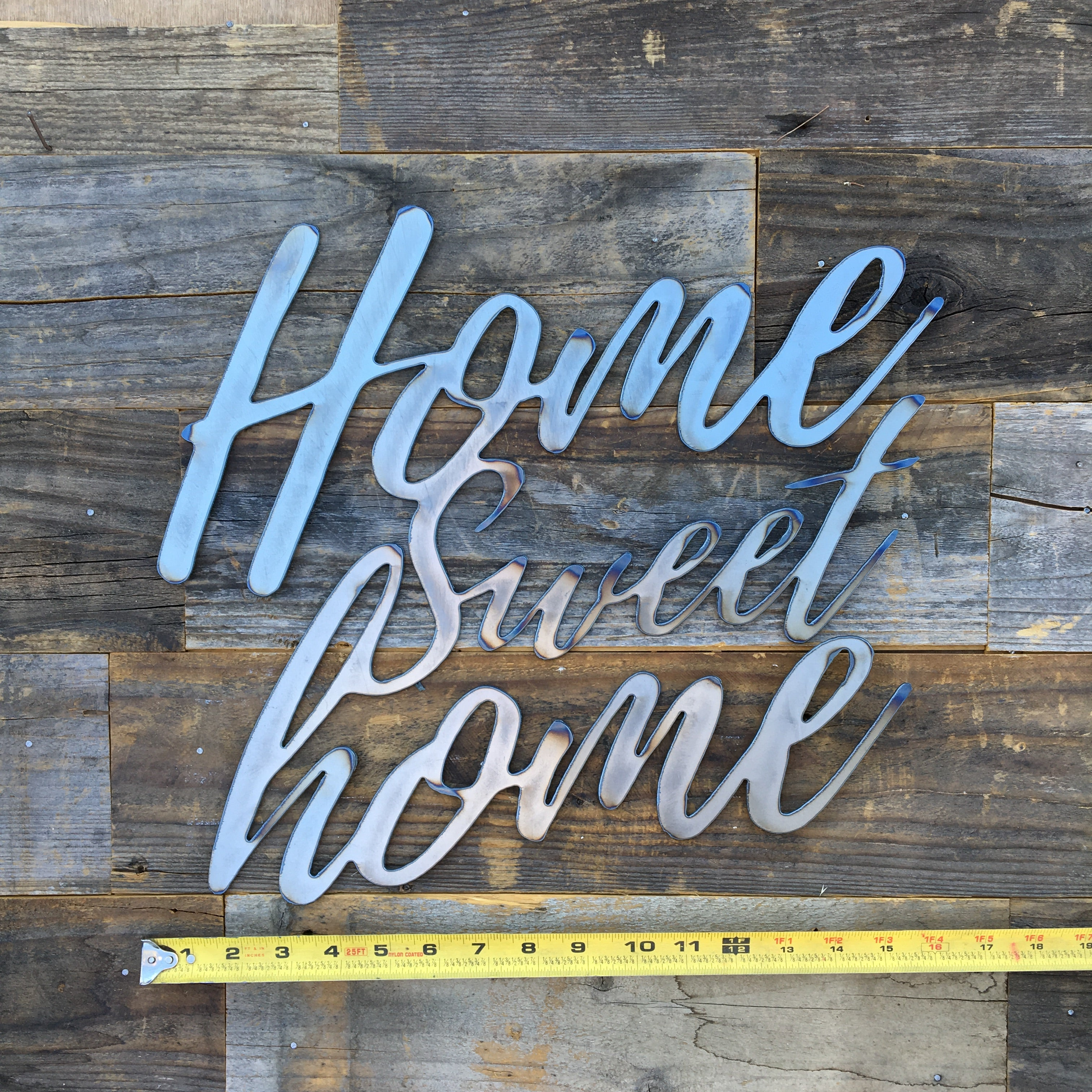 Rustic Home, Home Sweet Home 15 x 14,  Farmhouse, Metal Words, Kitchen Wall Decor, Home Decor, Farmhouse Sign, Motivational, Christian