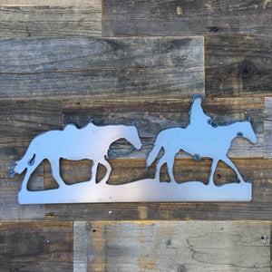 Rustic Home, Cowboy Leading Horse 20 x 9,  Farmhouse, Metal Words, Kitchen Wall Decor, Home Decor, Farmhouse Sign, Motivational, Christian