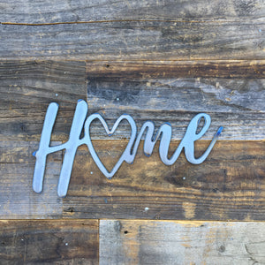 Rustic Home, Home with a Heart 12 x 6,  Farmhouse, Metal Words, Kitchen Wall Decor, Home Decor, Farmhouse Sign, Motivational