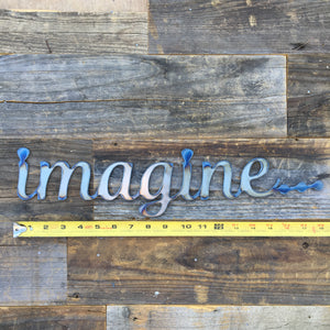 Rustic Home, Imagine 18 x 4,  Farmhouse, Metal Words, Kitchen Wall Decor, Home Decor, Farmhouse Sign, Motivational