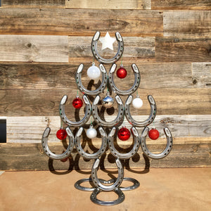 Rustic Horseshoe Christmas Tree with Star and Ornaments - Catch the luck - The Heritage Forge