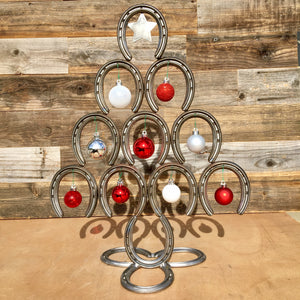 Rustic Horseshoe Christmas Tree with Star and Ornaments - Downward - The Heritage Forge