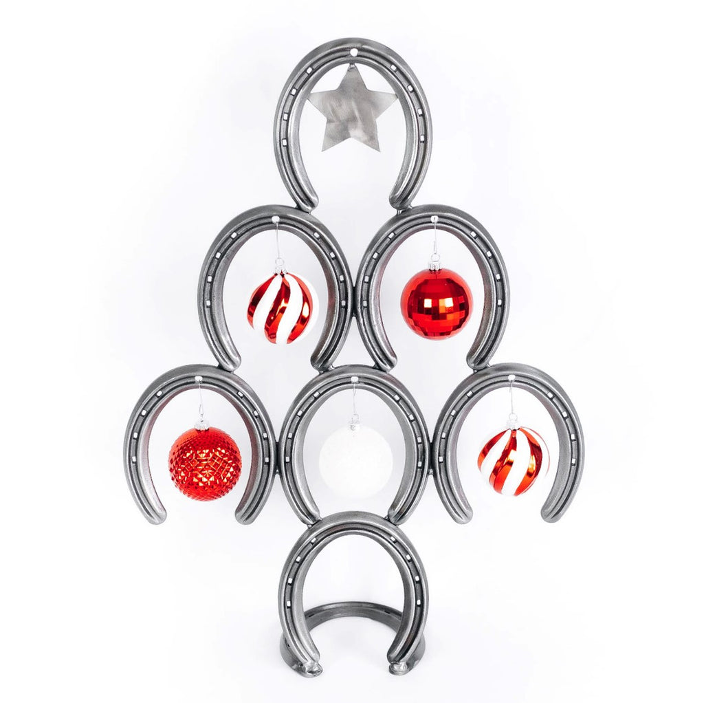 Mini Rustic Horseshoe Christmas Tree with Star and Ornaments - Downward - The Heritage Forge