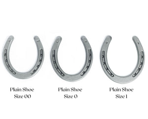 New Steel Horseshoes - Plain Shoe Size 0 -Sand Blasted Steel - The Heritage Forge