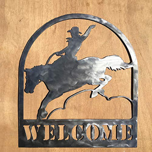 The Heritage Forge Rustic Home, Bucking Bronc Welcome Sign 20 x 17, Motivational, Metal Words, Kitchen Wall Decor, Home Decor, Farmhouse Sign, Motivational