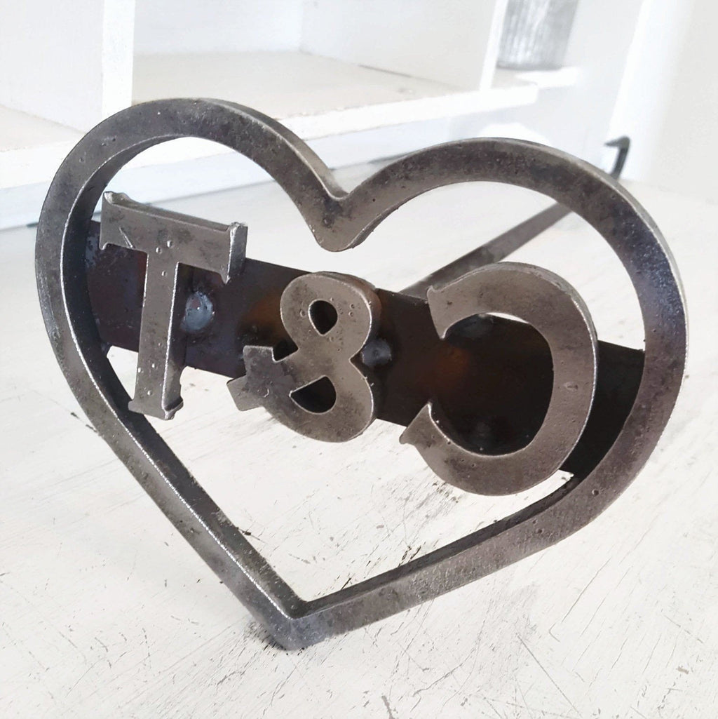Custom Heart Branding Iron Stamp - Cowboy Monogram - The Heritage Forge