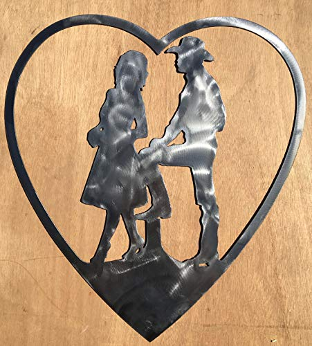 The Heritage Forge Rustic Home, Cowboy and Cowgirl in Heart Sign 22 x 8, Farmhouse, Metal Words, Kitchen Wall Decor, Home Decor, Farmhouse Sign