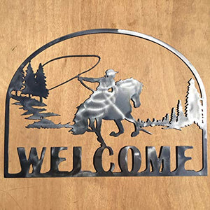 The Heritage Forge Rustic Home, Roping Cowboy Welcome Sign 20 x 15, Farmhouse, Metal Words, Kitchen Wall Decor, Home Decor, Farmhouse Sign, Motivational