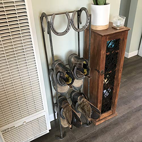 Rustic Standing Horseshoe Boot Rack - 3 Pairs - The Heritage Forge
