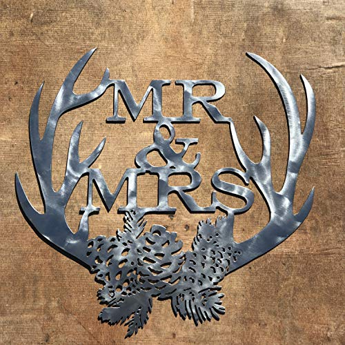 The Heritage Forge Rustic Home, Mr and Mrs with Antlers - 18 x 18, Motivational, Metal Words, Kitchen Wall Decor, Home Decor, Farmhouse Sign, Motivational