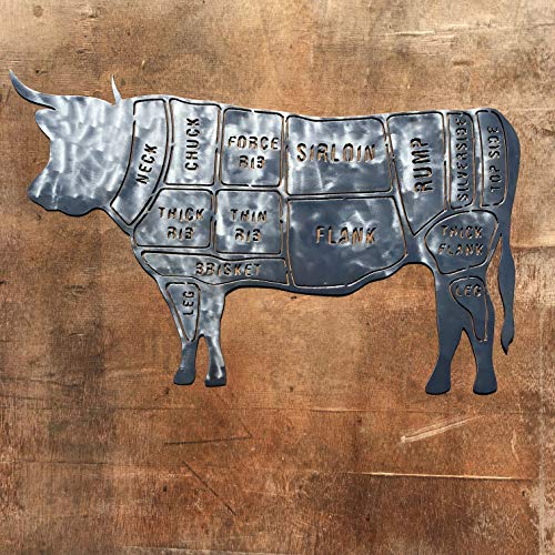 The Heritage Forge Rustic Home, Steer Butcher Chart - 30 x 19, Motivational, Metal Words, Kitchen Wall Decor, Home Decor, Farmhouse Sign, Motivational