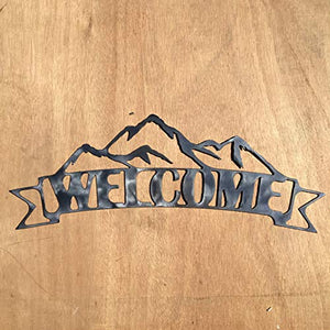 The Heritage Forge Rustic Home, Mountain Welcome Sign in Ribbon 19 x 7, Motivational, Metal Words, Kitchen Wall Decor, Home Decor, Farmhouse Sign, Motivational