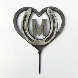 Custom Heart and Horseshoe Wedding Cake Topper w/ Initial