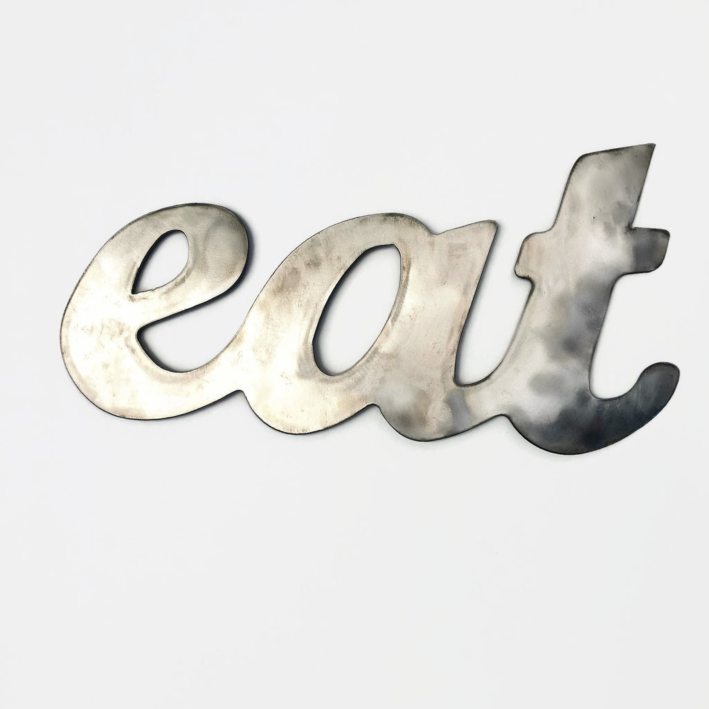 Rustic Home, Eat Sign 8 x 15,  Farmhouse, Metal Words, Kitchen Wall Decor, Home Decor, Farmhouse Sign