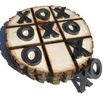 Rustic Tic Tac Toe Game - Wood Burned Art on Large Thick Wood Round Rustic Home Decor Shabby Chic Farmhouse Family