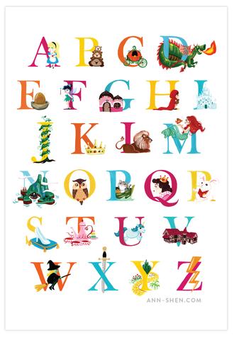 Storybook Alphabet Art Print 13x19""