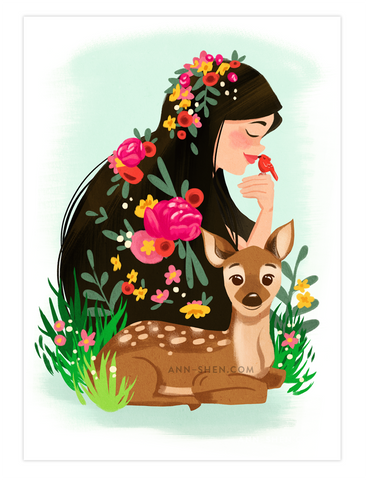 Deer Girls Art Print 5x7""