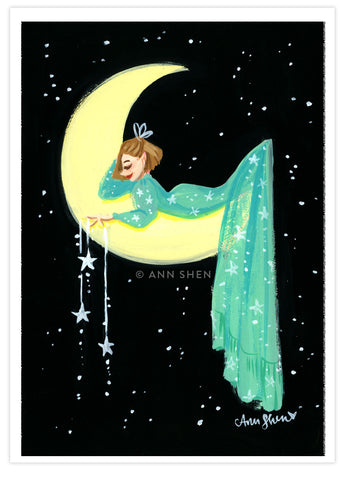 """Hanging the Moon"" Art Print 5x7"""