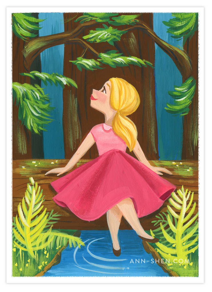 Flora in the Forest Art Print 5x7""