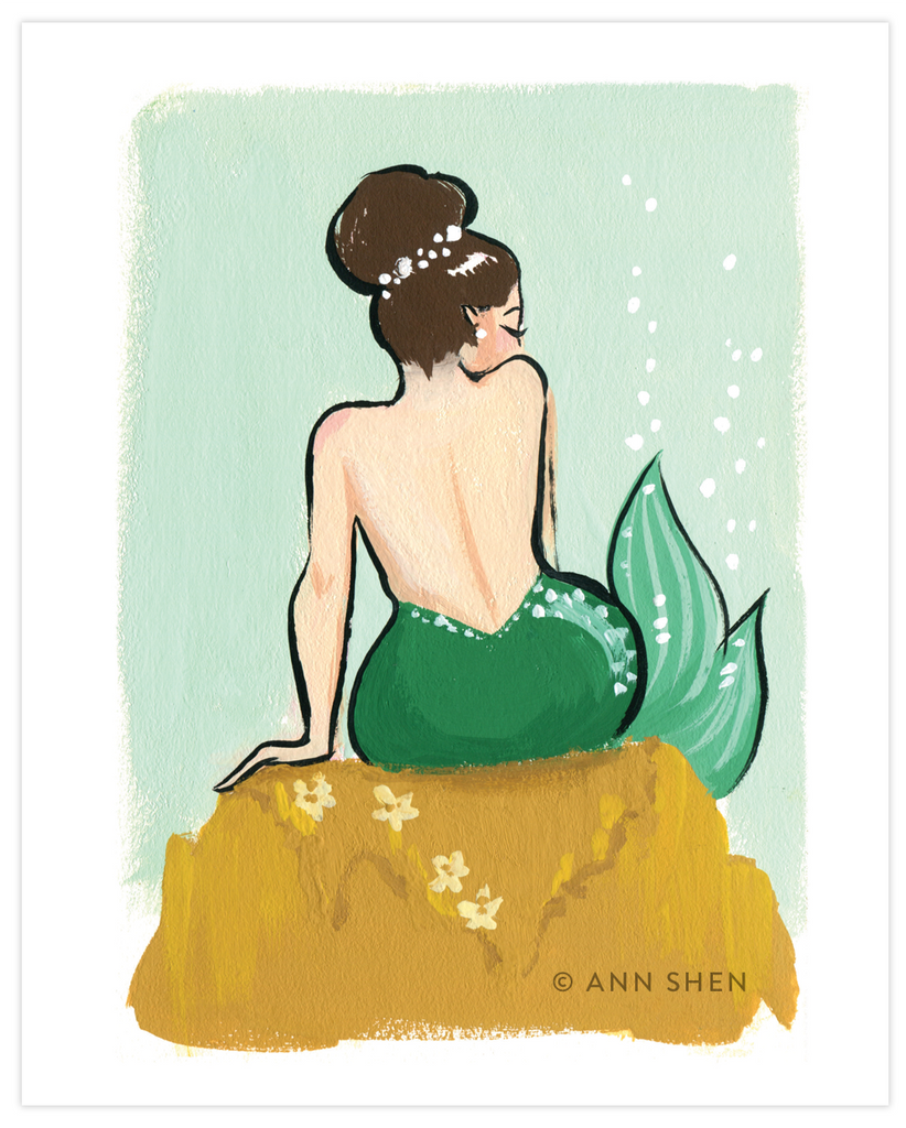 Green Pearl Mermaid Art Print 8x10""