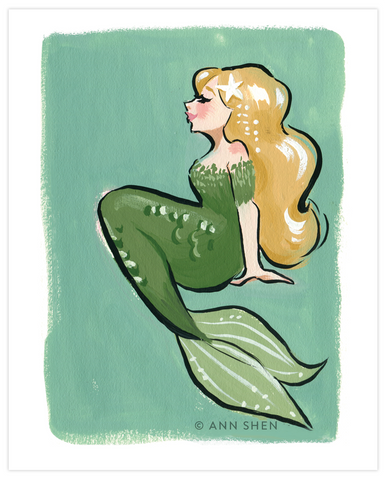 Green Starfish Mermaid Art Print 8x10""