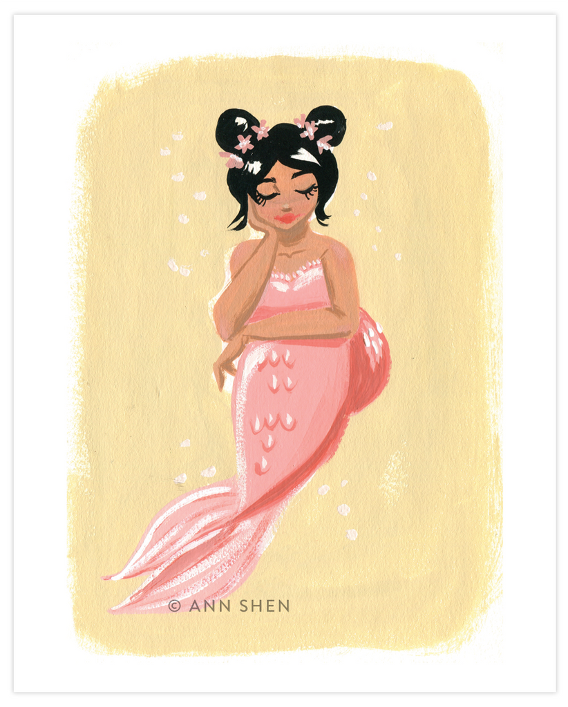 Sweet Pink Mermaid Art Print 8x10""