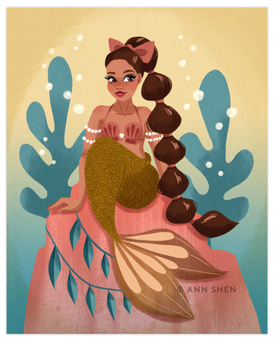 """Bubble Hair Mermaid"" Art Print 8x10"""