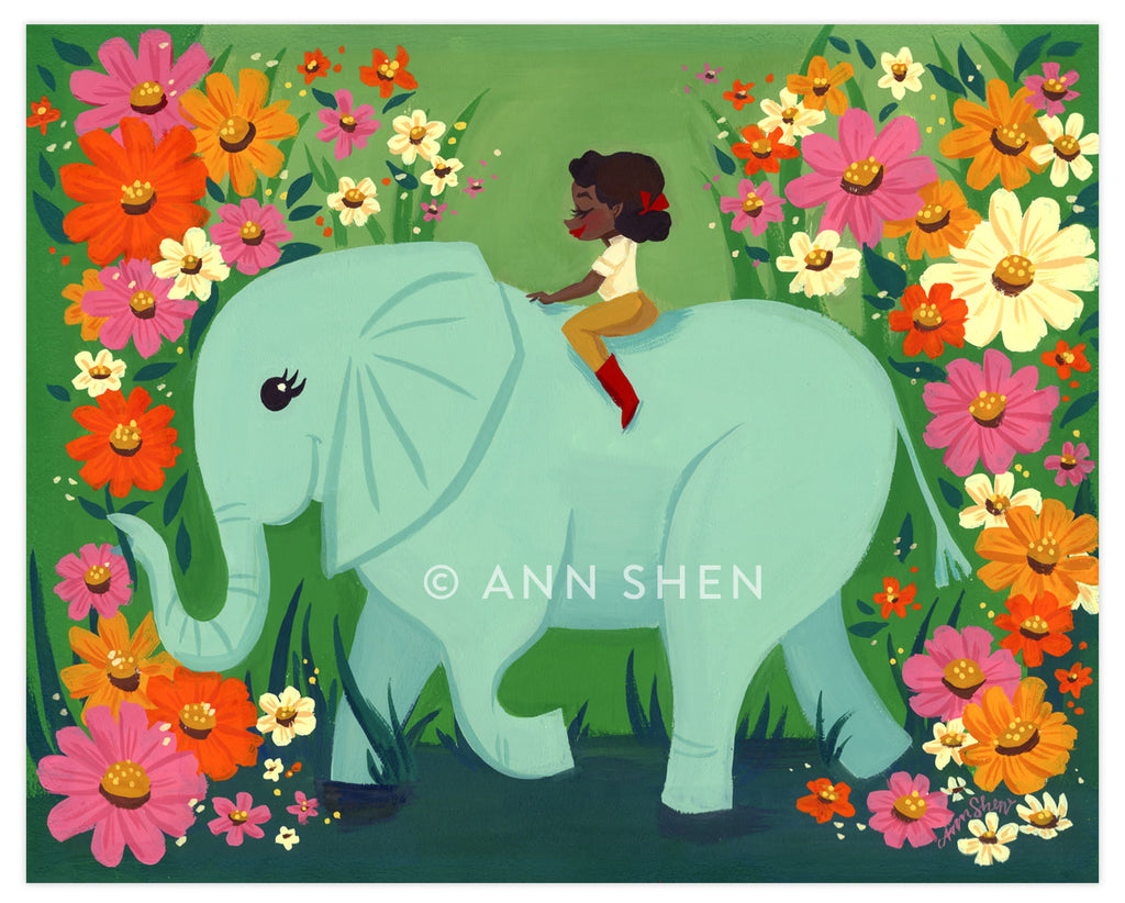 """The Elephant Rider"" Art Print 10x8"""