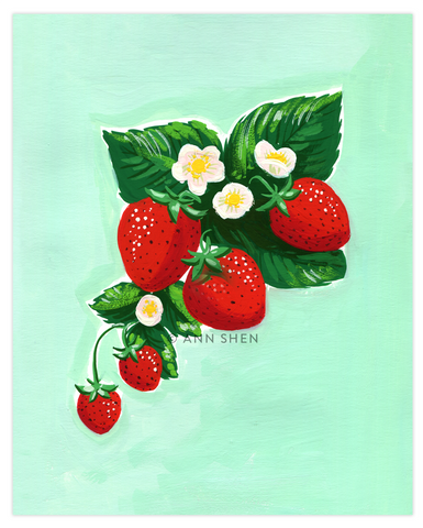 "Summer of Fruit Collection – Strawberries 8x10"" Art Print"