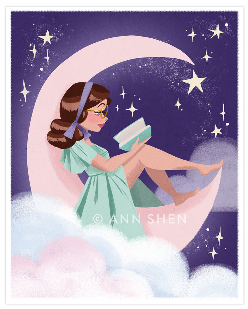 """Reading on the Moon"" Art Print 8x10"""