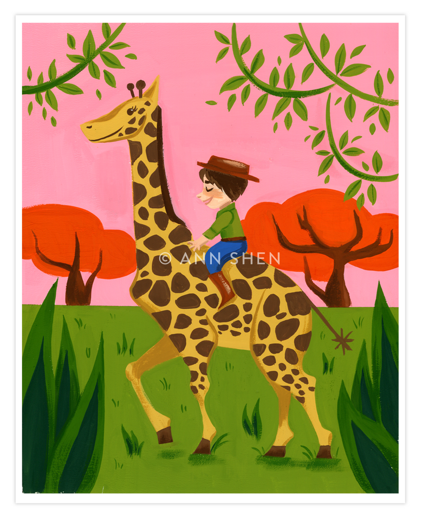 """The Giraffe Rider"" Art Print 8x10"""