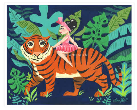 """The Tiger Rider"" Art Print 10x8"""