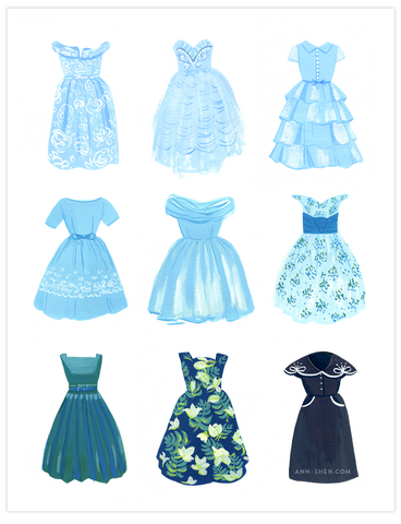 Vintage Dresses, Cool Blues Art Print 8x10""