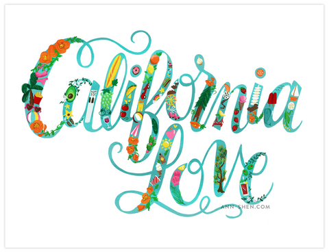 California Love Art Print 11x8.5""