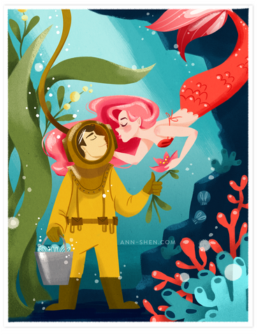 Delilah and Her Deep Sea Diver – Art Print 8.5x11""