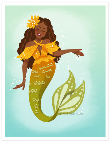 Sunny Side Mermaid Art Print 8x10""