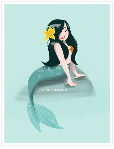 Seafoam Mermaid Art Print 8.5x11""